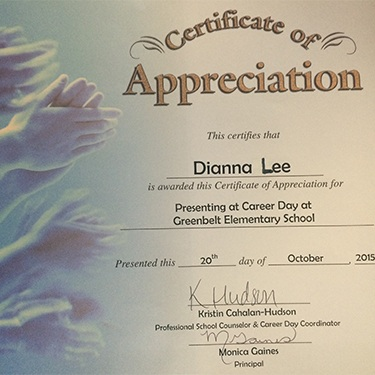 Certificate of appreciate for Doctor Lee's presentation at Greenbelt Elementary career day