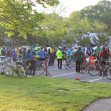 Group of bike to work week participants meeting up to kick off event