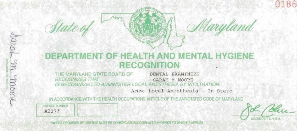 Sally Moore RDH Local Anesthesia License