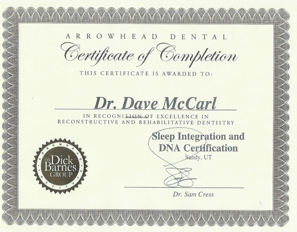 Dr Dave McCarl certification in the treatment of obstructive sleep apnea